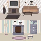 Indoor living room flat design Royalty Free Stock Image