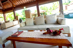 Indoor living room in the tropics Stock Images