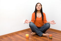 Indoor meditation Royalty Free Stock Images