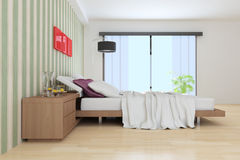 Indoor modern bedroom Stock Images