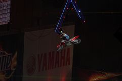 Indoor moto freestyle competition  Royalty Free Stock Photos