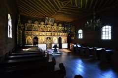 Indoor of Folk Church, Stara Lubovna Museum, Slovakia. Indoor of old traditional folk wooden Graeco-catholic church from Matysova in Stara Lubovna open air royalty free stock photos