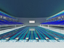 indoor olympic swimming pool arena with blue seats stock images