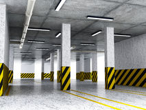 Indoor parking lot. 3D illustration Royalty Free Stock Images