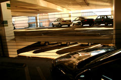 Indoor parking structure Stock Image