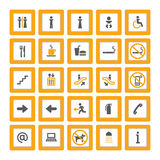 Indoor pictogram set orange-gray on white. Pictogram set for indoor use in orange and gray on white background Stock Photos