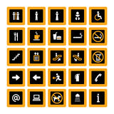 Indoor pictogram set orange-white on black. Pictogram set for indoor use in orange and white on black background Royalty Free Stock Photography