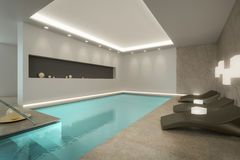 Indoor Pool. A 3D rendering image of an indoor pool SPA Royalty Free Stock Photography