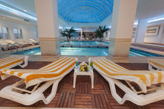Indoor pool at a luxury hotel Stock Images