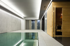 Indoor pool with sauna stock photo