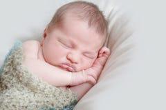 Indoor portrait of adorable newborn baby. Indoor portrait of adorable european newborn baby Royalty Free Stock Image