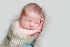 Indoor portrait of adorable newborn baby. Indoor portrait of adorable european newborn baby Stock Images