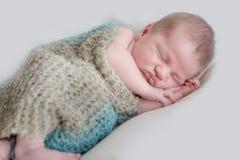 Indoor portrait of adorable newborn baby Stock Images