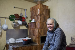 Old happy woman indoor Royalty Free Stock Photo