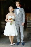 Indoor portrait of a beautiful bride and groom Royalty Free Stock Photo