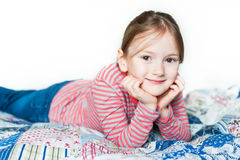 Indoor portrait of a cute little girl Royalty Free Stock Photos