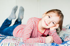 Indoor portrait of a cute little girl Stock Photo