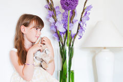 Indoor portrait of a cute little girl Stock Photography