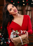 Indoor portrait of elegant woman with make-up and. Hair-style posing near decorated  Christmas tree with gift box in the hand Royalty Free Stock Images