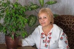 Indoor portrait of Ukrainian woman Stock Images