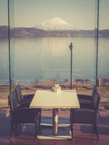 An indoor restaurant with beautiful view Royalty Free Stock Photos