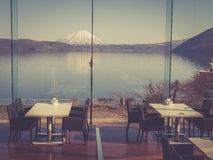 An indoor restaurant with beautiful view Royalty Free Stock Images