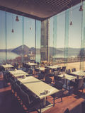 An indoor restaurant with beautiful view Royalty Free Stock Image