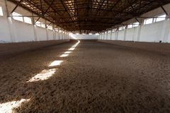 Indoor riding hall with sandy covering. Rays of light through the windows royalty free stock photos