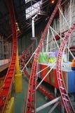 Indoor roller coaster system. Details of an indoor roller coaster system Stock Photography