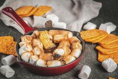 Indoor s'mores, baked s'mores dip Royalty Free Stock Images