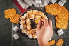 Indoor s'mores, baked s'mores dip Royalty Free Stock Photos