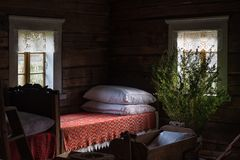 Ancient bedroom interior wooden house Lithuania Royalty Free Stock Images