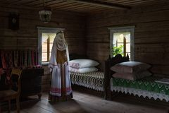 Ancient bedroom interior wooden house Rumsiskes Lithuania Royalty Free Stock Images