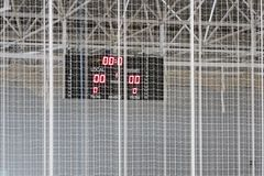 Indoor score board. In a basket match Stock Image