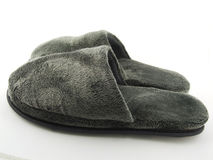 Indoor Shoes. A pair of fluffy and comfy open indoor slippers. Side view Stock Photography