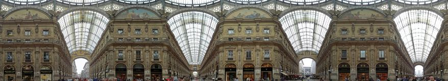 The indoor shopping arcade at Galleria Vittorio Emanuele II royalty free stock images