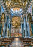 Indoor sight in the Church of San Giuseppe dei Teatini in Palermo. Sicily, southern Italy. royalty free stock photo