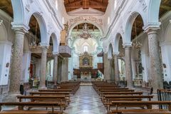 Indoor sight in Forza d`Agrò Cathedral, Province of Messina, Sicily, southern Italy.