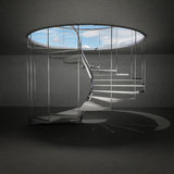 Indoor spiral staircase leading to sky above clouds Royalty Free Stock Photos