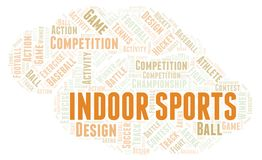 Indoor Sports word cloud. Wordcloud made with text only royalty free illustration