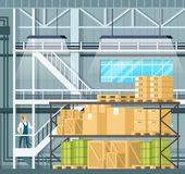 Indoor Storage Full of Goods, Freight on Shelf. Warehouse Interior with Tank, Wooden Pallet and Package. Factory Character in Uniform and Hard Hat Staying on vector illustration
