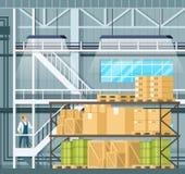 Indoor Storage Full of Goods, Freight on Shelf vector illustration