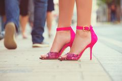 Woman legs with high heels shoes for spring summer season stock image