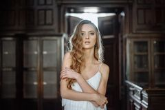 Indoor summer portrait of young pretty cute girl. Beautiful woman posing beside fairytale door inside wood cabinet, scars old cast Royalty Free Stock Images