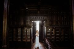 Indoor summer portrait of young pretty cute girl. Beautiful woman posing beside fairytale door inside wood cabinet, scars old cast Royalty Free Stock Photography