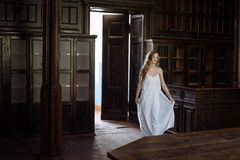 Indoor summer portrait of young pretty cute girl. Beautiful woman posing beside fairytale door inside wood cabinet, scars old cast Stock Photos