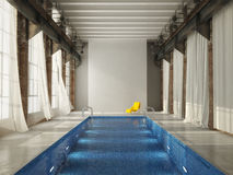 Indoor swiming pool in a loft. 3d rendering Stock Photo