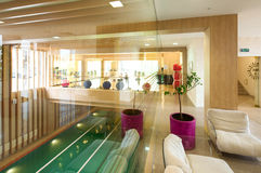 Indoor swimming pool. Recreation zone and swimming pool in a fitness club Royalty Free Stock Photography