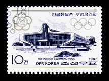 The indoor swimming pool, Competitive facilities in the street C. MOSCOW, RUSSIA - MARCH 18, 2018: A stamp printed in Democratic People's Republic of Korea Royalty Free Stock Image