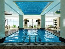 Indoor swimming pool design idea. Indoor swimming pool and wooden deck relax design idea 3d rendering Stock Photos